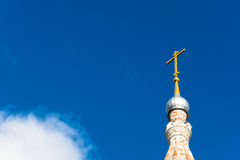 The Church dome. Church domes with crosses on a bright background of blue sky Royalty Free Stock Photos
