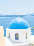Church dome with Nea Kameni in the  background. Stock Photography