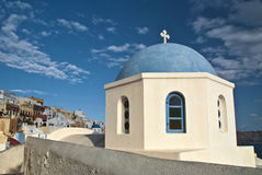 Church Dome Overlooking Santorini Caldera Stock Photography