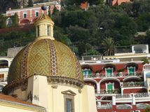 Church dome in Positano on the Amalfi Coast of Ita Royalty Free Stock Photos