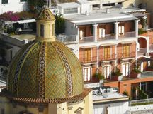 Church dome in Positano on the Amalfi Coast, Italy Stock Images