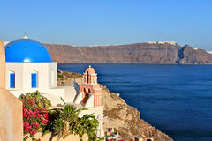 Church Dome Santorini Stock Photo