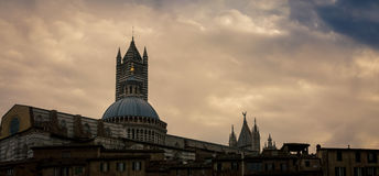 Church Dome Siena. Sunset on a Church Dome in  Siena Italy Royalty Free Stock Photos