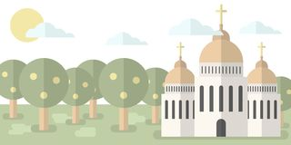 Church with domes and crosses against the backdrop of nature, forest. Vector illustration. Religion, baptism, hope vector illustration