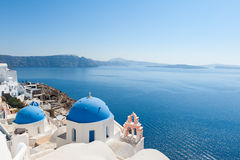 Church domes in Oia Santorini Stock Image