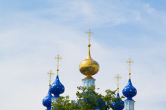 Church domes. Domes of orthodox church with crosses against the cloudy sky Stock Images