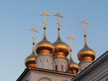 Church with domes. Orthodoxy church domes during beautiful sunset royalty free stock image