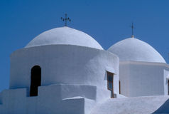 Church domes in Patmos. Plaka, Greece stock photos