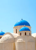 Church domes in Perissa, Santorini, Greece Royalty Free Stock Image