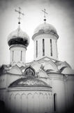 Church Domes in Trinity Sergius Lavra. Black and white photo. Royalty Free Stock Images
