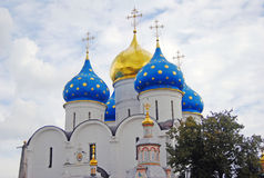 Church Domes in Trinity Sergius Lavra Stock Photo