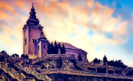 Church dominant with decorative historical staircase, graphic work from painting. Stock Photography