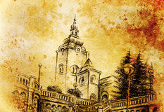 Church dominant in the old town, pencil drawing with colorful effect. Stock Images