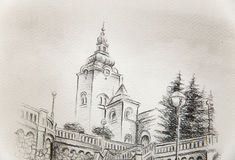 Church dominant in the old town, pencil drawing on paper. Stock Image