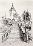 Church dominant in the old town, pencil drawing on paper. Royalty Free Stock Photography