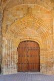 Church door. Ancient gothic church door, Iglesia de la Asuncion , Arnuero, Cantabria, Spain Stock Images