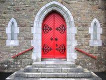 Church door. Bright red Irish church door Stock Image
