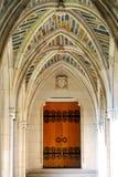 Church door. Yellow church door with black decoration Stock Photography