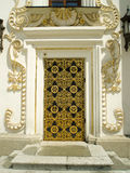 Church door. Lateral door of the Dormition cathedral (Uspenskyi sobor). Territory of the Kiev Laura of the Caves stock photos