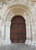 Church door and carved lintel Stock Photos