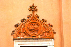 church door   in italy  lombardy   column  the      closed bric Royalty Free Stock Image