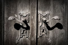 Church door rusty metallic handle Stock Images