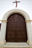 Church door and white wall lanzarote Royalty Free Stock Photography
