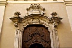 church door and    yellow wall lugano Switzerland Swiss Royalty Free Stock Photography