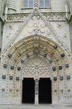 Church doors. Church stone portal of the quimper cathedral in brittany,in france Royalty Free Stock Image
