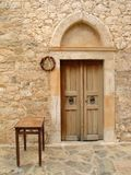 Church doors. Brown church doors in traditional small village in Crete, Greece Royalty Free Stock Photos
