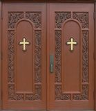 Church Doors. Isolated Entryway to a Church Royalty Free Stock Photos