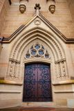 Church Doors. Chapel cathedral church architecture wooden door iron work hinges stained glass worship history tradition stock photos