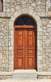 Church doors closed. Stone church facade wooden double doors closed Stock Images