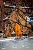 Church Doors. Snow with footprints Stock Photography