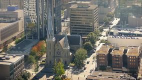 Church In Downtown City Area In The Sun stock video footage