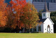 A church in downtown houston, texas. A historical church with autumn view in downtown houston, texas Stock Photo