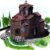 Church drawing colored. Old church colored hand drawing Stock Image