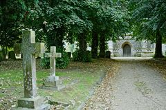 Church driveway. Driveway leading to the main entrance of a village church Stock Images