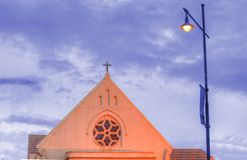 Church at dusk. A church brightly lit at dusk Royalty Free Stock Images
