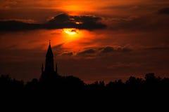 Church in dusk. Skinnskattebergs church in the evening Royalty Free Stock Photography