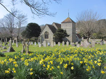 Church at East Dean, East Sussex, England,UK. Spring in downland village Stock Photos