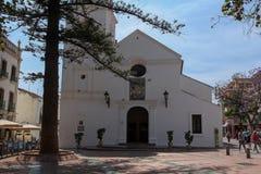 Church of El Salvador on Plaza Balcon de Europa, Nerja, Spain. NERJA, MAY 10: Church of El Salvador on Plaza Balcon de Europa; on May 10, 2014 Nerja, Spain Royalty Free Stock Photo
