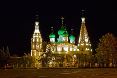 Church of Elijah the Prophet in Yaroslav at night Royalty Free Stock Images
