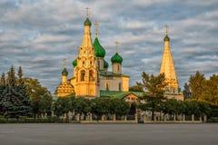 Church of Elijah the Prophet in Yaroslav at sunset Stock Image