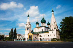 Church of Elijah the Prophet in Yaroslavl, Russia. With cloudy blue sky. It is a famous landmark in the city located at the Soviet square Stock Photography