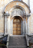 Church entrance. Entrance of the old church with doorsteps Stock Photos