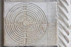 Labyrinth at Church entrance. Stock Photo