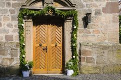 Church entrance decorated Stock Images