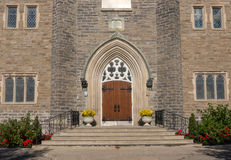 Church Entrance and Flowers Royalty Free Stock Images
