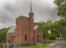 Church at the entrance of Kastellbacken island in Stockholm. Royalty Free Stock Image
